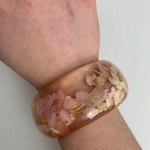 Flower petal bangle oversized resin bracelet